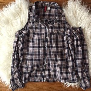H&M Plaid Flannel with Cutouts
